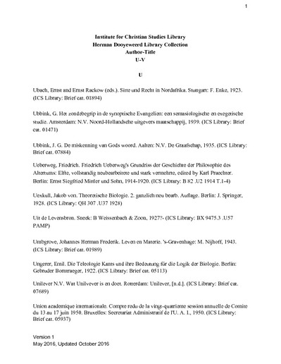 The Herman Dooyeweerd Library Collection: Author-Title Citations